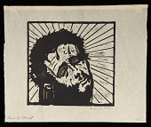 view Head of Christ digital asset: Woodcut by Benjamin Miller, 'Head of Christ,' 1924