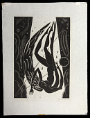 view Icarus digital asset: Woodcut by Benjamin Miller, 'Icarus,' 1924