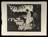 view Christ Entering Jerusalem digital asset: Woodcut by Benjamin Miller, 'Christ Entering Jerusalem,' 1925