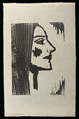 view Head of Young Woman digital asset: Woodcut by Benjamin Miller, 'Head of Young Woman,' 1926