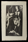 view Aubrey Beardsley digital asset: Woodcut by Benjamin Miller, 'Aubrey Beardsley,' 1928