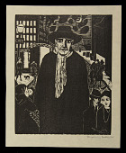 view The Stranger digital asset: Woodcut by Benjamin Miller, 'The Stranger,' 1928