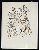 view Figure studies digital asset: Drawing by Benjamin Miller, 'Caricature sketches,' 1933
