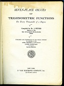 view Book, Seven-Place Values of Trigonometric Functions for Every Thousandth of a Degree digital asset: Seven-Place Values of Trigonometric Functions for Every Thousandth of a Degree, Title Page