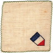 view Cocktail napkin with French Republic flag digital asset: Cocktail napkin with French Republic flag motif, made by French peasant women in French Lorraine during WWI and sold in America through the Society for Employment of Women in France