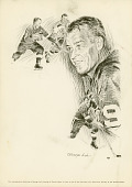 view Black and White Reproduction Lithograph of Ice Hockey Player Gordie Howe digital asset number 1