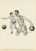 view Black and White Reproduction Lithograph of Basketball Player Bob Cousy digital asset number 1