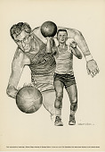 view Black and White Reproduction Lithograph of Basketball Player George Mikan digital asset number 1