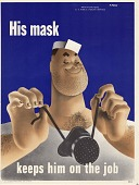 view His mask keeps him on the job. digital asset: public health poster