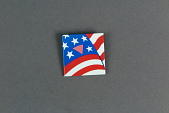 view American flag with pink triangle button digital asset: American flag with pink triangle button