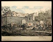 view Dressing Station in Ruined Farm digital asset: Sketch by Wallace Morgan, 1918, Dressing Station in Ruined Farm