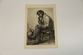 """view A Hard Problem: An Aldine Publishing Co. Engraving attributed to Thomas Brooks digital asset: A large print of an illustration attributed to """"After T. Brooks"""" entitled """"A Hard Problem."""" The illustration depicts a young African-American boy, who is sitting on stoll next to a large jug,  holding a slate with writing on it while staring off in deep contemplation."""