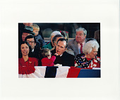 view President-elect George H.W. Bush, Barbara Bush, the Bush's granddaughter Ellie LeBlond, and Marilyn Quayle at pre-inaugural event digital asset: Photograph by Diana Walker