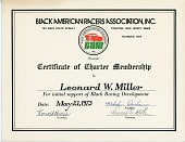view Black American Racers Association Certificate of Charter Membership to Leonard W. Miller digital asset number 1