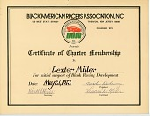 view Black American Racers Association Certificate of Charter Membership to Dexter Miller digital asset number 1