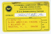 view F.I.A. International license for Leonard W. Miller, president and owner of the Black American Racers team, 1975 digital asset number 1