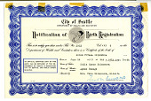 "view ""Notification of Birth Registration"" for Roger Yutaka Shimomura, City of Seattle, 1939 digital asset number 1"