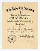 view Certificate, The Rho Chi Society Pharmaceutical Honor Society certificate for Eddie Shimomura, University of Washington in Seattle, 05/23/1934 digital asset number 1