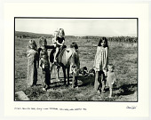 view Pilar Law on her pony, with friends. Truchas, NM. 1970 digital asset: Pilar Law on her pony, with friends.  Truchas, NM. 1970