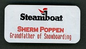 """view Name tag given to Sherman Poppen, """"the grandfather of snowboarding"""" digital asset: Snowboarding badge"""