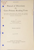 view Pamphlet, Manual of Directions for Gates Primary Reading Tests digital asset: Pamphlet, Manual of Directions for Gates Primary Reading Tests