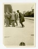 view African-American Man Dancing at Railroad Station digital asset: African-American Man Dancing at Railroad Station