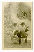 view Two women riding burros digital asset: Two women riding burros