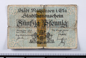 view 50 Pfennig Note, Muhlhausen, Germany, 1918 digital asset number 1