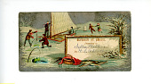 view Reward of Merit with Winter Water Scene Showing Two Men Catching Fish, Two Men on a Boat, and a Pair of Ice Skaters digital asset number 1