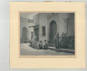 view At the Door of the Mosque digital asset: Bromoil print, At the Door of the Mosque