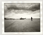 view Vice President Al Gore arriving on helicopter digital asset: Photograph, silver gelatin, Vice President Al Gore arriving on helicopter