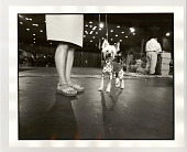 view Chinese Crested dog and owner digital asset: Photograph, silver gelatin, Chinese Crested dog and owner