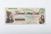 view 10 Dollars, Eastman National College Bank, Chicago, Illinois, 1870 digital asset: Note, 10 Dollars, front