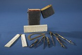 view Pocket Case of Drawing Instruments digital asset: Set of Drawing Instruments in Sharkskin Case, Instruments out of Case