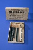 view Box of American Lead Pencil Co. Venus Pencils and Eraser digital asset: Venus Perfect Pencils, Four Pencils in Box - Lid Open