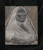 view Engraved woodblock of an American Indian woman digital asset: Engraved woodblock of an American Indian woman