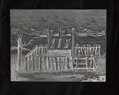 "view Engraved woodblock of a ""House-burial"" digital asset: Engraved woodblock of a house-burial"