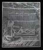 """view Engraved woodblock of """"Bringing down the batten"""" digital asset: Engraved woodblock of a Navajo weaver, bringing down the batten"""