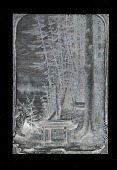 "view Engraved woodblock of a ""Canoe burial"" digital asset: Engraved woodblock of canoe burial"