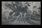 """view Engraved woodblock of the """"Dance of the Nahikai"""" digital asset: Engraved woodblock of the dance of the Nahikai"""