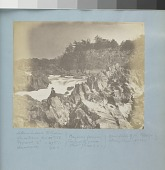 view Great Falls of the Potomac digital asset: Image by Titian Ramsay Peale of the Great Falls of the Potomac, Maryland, shore with a man seated on a rock in the left foreground.
