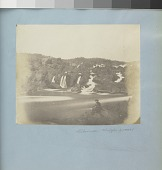 view Great Falls of the Potomac digital asset: Image by Titian Ramsay Peale of the Great Falls of the Potomac with a man seated on a rock in the right foreground.