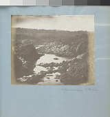 view Landscape digital asset: Image by Titian Ramsay Peale of the Potomac with rocky banks, rocks in riverbed, and trees in background along horizon.