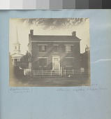 view Two storey brick house with church digital asset: Image by Titian Ramsay Peale of a two story brick house with a church in the left background.