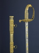 view Sword Presented to William B. Hazen digital asset: Presentation sword, given to General William B. Hazen by the Officers of his staff, June 1863.