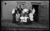 view Asahel and Martha Hussey and Walter J. Hussey's Family digital asset: Positive image from a glass plate negative by Walter J. Hussey, Asahel and Martha Hussey with Walter J. Hussey's Family