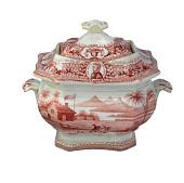 view Pink Log Cabin Patterned Sugar Bowl digital asset number 1