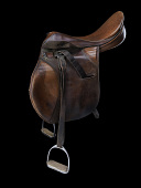view English riding saddle worn by the horse Ravel during the 2008 Beijing Olympics digital asset number 1