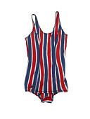 view Competition bathing suit worn by swimmer Victoria King at the 1968 Mexico City Summer Olympics digital asset: bathing suit, olympics