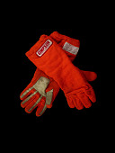 view Auto racing gloves worn by Indy car driver John Mahler during the 1979-1980 season digital asset: gloves, auto racing
